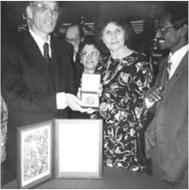PSR-LA founders Pauline and Richard Saxon M.D. and Shirley Magidson (center) at the Nobel Peace Prize ceremony in Oslo, Norway, 1985.