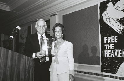 Wally and Suzy being honored at PSR-LA's 2004 Gala Dinner