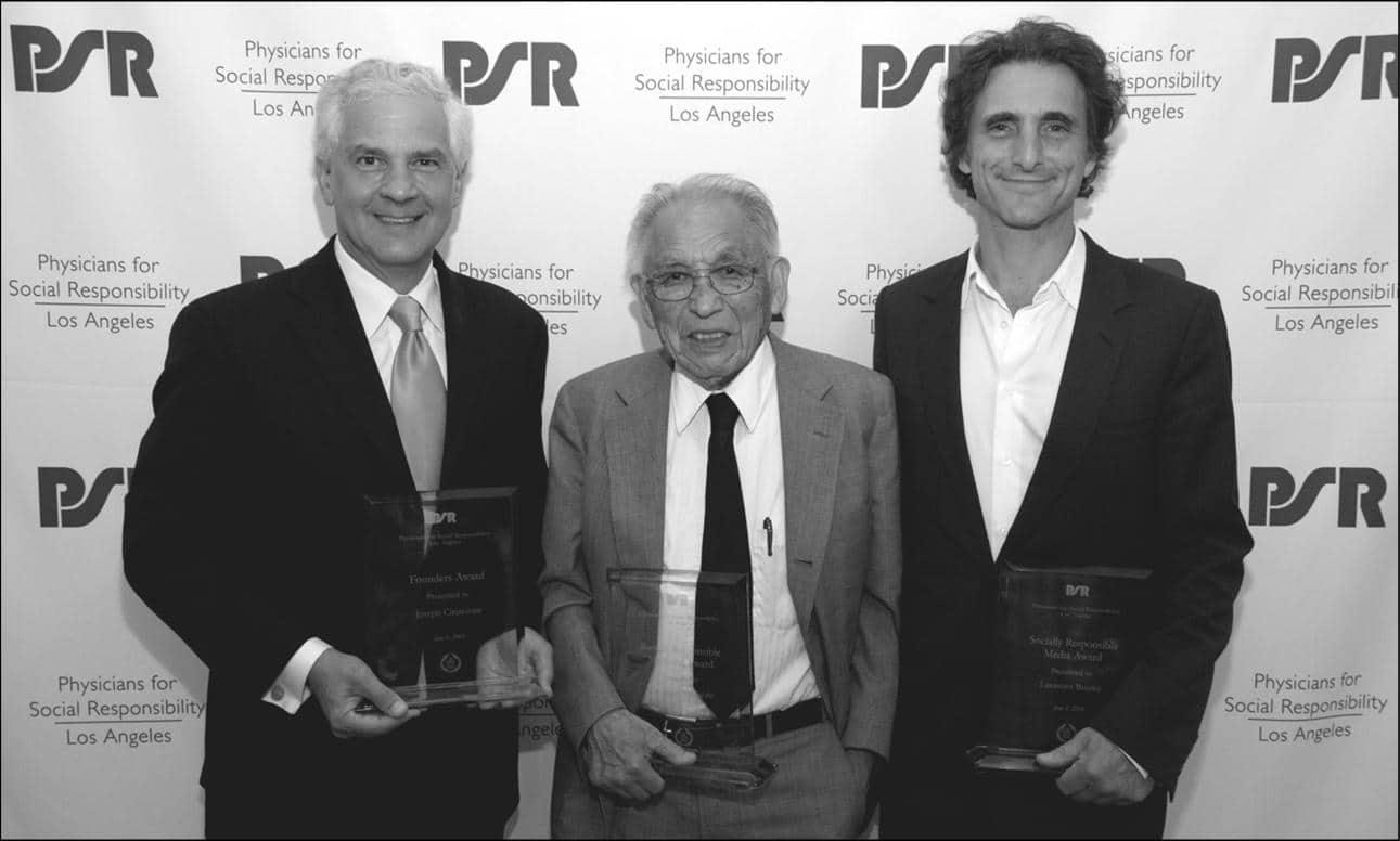Joseph Cirincione (Founders Award), Dr. James Yamazaki, M.D. (Socially Responsible Medicine Award), and Lawrence Bender (Socially Responsible Media Award).